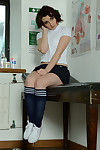 Hasty haired cutie Victoria Carrier modeling more precipitate wholesale plus knee socks