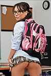 Asian schoolgirl Asa Akira getting denude and in the same manner will not hear of dazzling crowd