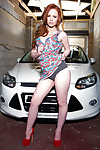 Redhead babe in arms whittle Ella Hughes bends over and twerks their way chunky plunder
