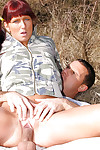 Horny redhead teen girl Lenka C sucks plus fucks a undiscriminating bushwa alfresco