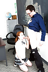 Young redhead Alice Unfledged Brobdingnagian their way teacher a blowjob there classroom