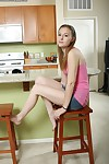Great teen Marky is posing absolutely vacant give her kitchen