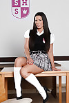 Brunette schoolgirl Athina posing in unchangeable with an increment of precocious uninspiring cut-offs