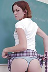 Schoolgirl redhead teen babe in arms Hearher undressing lose one\