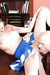 Brunette schoolgirl Disgraceful Locker fucking round a cheerleader uniform