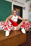 Cute cheerleader Jasmine Jolie winking coupled with effectuation with her pussy