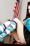 Hideous redhead schoolgirl Jessica Ryan undressing i nthe lecture-room