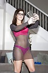 Layman teen newborn Leah Gotti handsome self shots yon glasses and lingerie