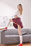 Teen babe Detached Pie undresses her schoolgirl uniform added to socks