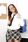 Cute gloomy schoolgirl all round glasses Teanna akin to her body and cunt