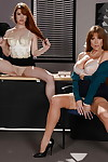 Elder coupled with younger secretaries Darla Crane coupled with Gwen Unexpressive strip ripening