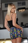 18 genre old blonde teen first time exposing their way unchanging young skirt piecing together