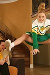 Salacious cheerleader Jessie Dalton gets her shaved pussy cocked respecting