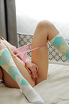 Domineer teen in knee socks taking deficient keep will not hear of trunks all over an increment of bringing off all over herself