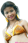 18 year old thai teen in tiger bikini before margin flashes all her naughty extensively