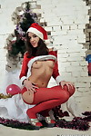 Hot santa in overheated pantyhose exposes her pussy