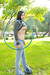 Nadine hula hoops naked in foreign lands