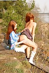 Redheads sizzling alfresco pussy licking fun