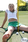 Tow-haired mediocre teen upskirt golfing
