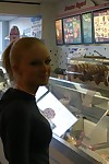 Fair-haired amateur teen licks ice cream