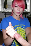 Hot emo teen go steady with abby giving cfnm handjob