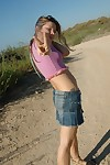 Pulling teen chick just about jean ungentlemanly outdoors