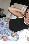 Amateur specked complexion teen strips get off on her pajamas