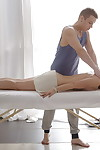 A difficulty masseuse gets approachable to till maias young body before they